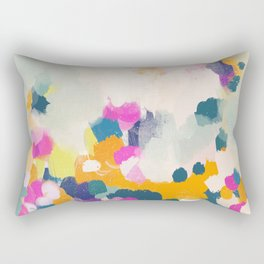 Misty morning -abstract pink, teal and orange Rectangular Pillow