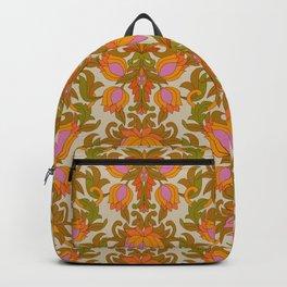 Orange, Pink Flowers and Green Leaves 1960s Retro Vintage Pattern Rucksack