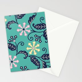 Modern Blossoms Floral in Aqua Stationery Cards