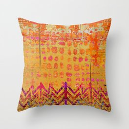 Gold and Orange Dot Abstract Art Collage Throw Pillow