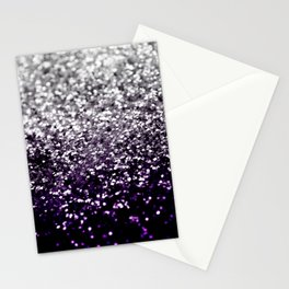 Dark Night Purple Black Silver Glitter #1 #shiny #decor #art #society6 Stationery Cards