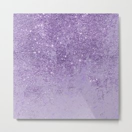 Modern elegant lavender lilac glitter marble Metal Print