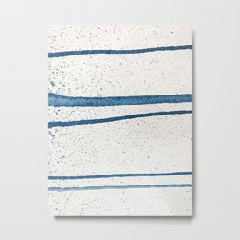 Parallel Universe [horizontal]: a pretty, minimal, abstract piece in lines of vibrant blue and white Metal Print