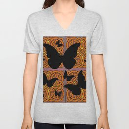 Mystic Black Butterflies Golden Celtic Patterns Unisex V-Neck