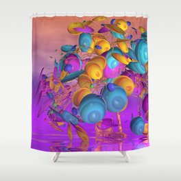 violet and orange and turquoise Shower Curtain
