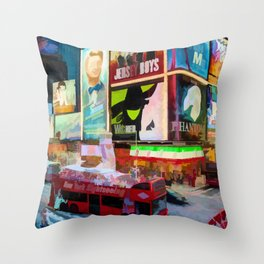 Times Square II (pastel paint style) Throw Pillow