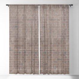 NYC Big Apple Manhattan City Brown Stone Brick Wall Sheer Curtain