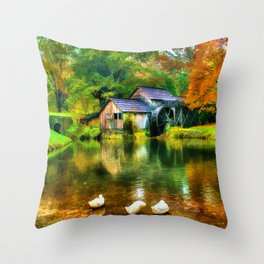 Autumn at the Mill Throw Pillow