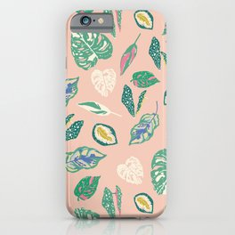 Tropical houseplants in pink iPhone Case