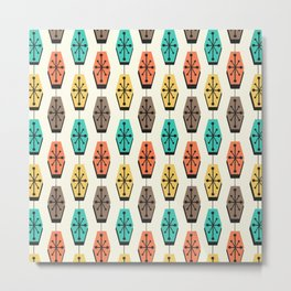 Mid Century Modern Hexagons Colorful Metal Print