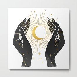 Gold La Lune In Hands Metal Print