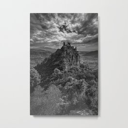 A castle on top of the mountain in black and white Metal Print