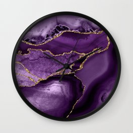 Glamour Purple Bohemian Watercolor Marble With Glitter Veins Wall Clock