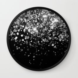 Silver Gray Black Glitter #3 (Faux Glitter - Photography) #shiny #decor #art #society6 Wall Clock