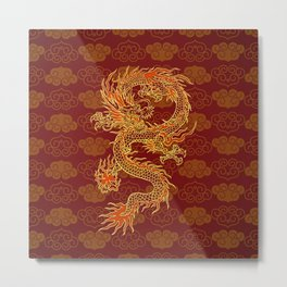 Traditional Chinese Red Dragon                                         Metal Print