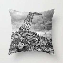 Crane with scrap metal Throw Pillow