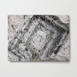 Stone Face | Ancient Traveling Photograph Ruins Ephesus Architecture Detail Turkey Man in the Ground Metal Print