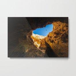 Dramatic sea cave along Algarve coast in Portugal Metal Print