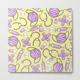 Pastel Medical Pattern - Doctor and Nurse Theme - on Yellow Metal Print