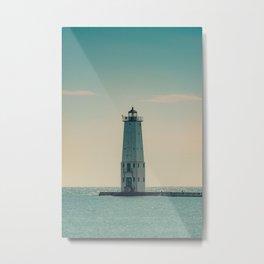 Frankfort North Light Lake Michigan Lighthouse Pier Breakwater Historic Maritime Navigation Metal Print