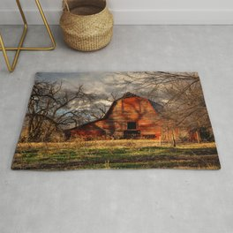 Red Barn - Rustic Barn in Shadows on Fall Day in Oklahoma Rug
