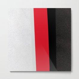 silver grey red black striped geometric minimal digital painting Metal Print