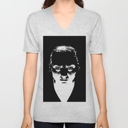 Scary Lady drawing by Woody Compton Unisex V-Neck
