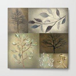 Earth Tone Botanical Color Blocks Metal Print