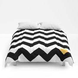 Heart & Chevron - Black/Yellow Comforters