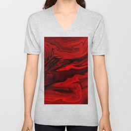 Blood Red Marble Unisex V-Neck