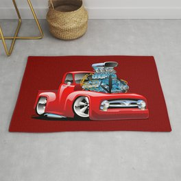 American Classic Hotrod Pickup Truck Cartoon Rug
