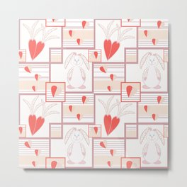 Children pattern with rabbits and hearts. Metal Print