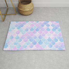 Mermaid Art, Pastel, Pink, Blue and White Rug
