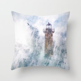 Storm in the lighthouse Throw Pillow