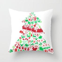 Christmas Tree Santa Sleigh Gift Throw Pillow