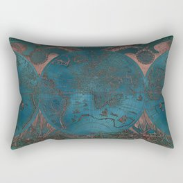 Rose gold and teal antique world map with sail ships Rectangular Pillow