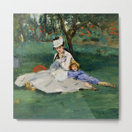 "Édouard Manet ""The Monet Family in Their Garden at Argenteuil"" Metal Print"
