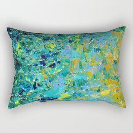 BEAUTY BENEATH THE SURFACE - Stunning Ocean River Water Nature Green Blue Teal Yellow Aqua Abstract Rectangular Pillow
