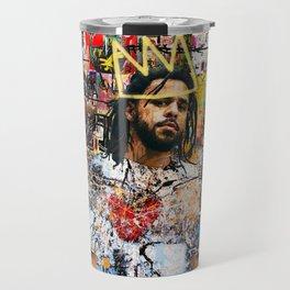 J Cole Portrait Artwork Travel Mug