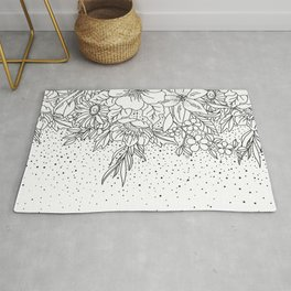 Cute Black White floral doodles and confetti design Rug