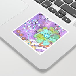Mixed media painted background with flowers Sticker