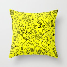 Pharma on Yellow Throw Pillow