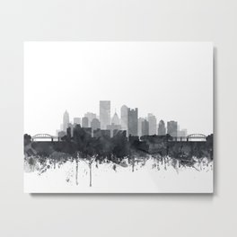 Pittsburgh Skyline Black & White Watercolor by Zouzounio Art Metal Print