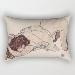 KNEELING GIRL, RESTING ON BOTH ELBOWS - EGON SCHIELE Rectangular Pillow