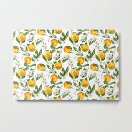 Citrus OrangeTree Branches with Flowers and Fruits Metal Print