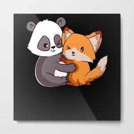 Panda Fox Wild Life Animals Hug Metal Print