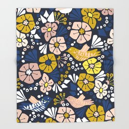 Blue wellness garden - florals matching to design for a happy life Throw Blanket