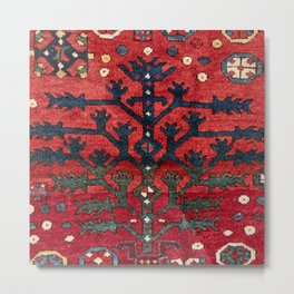 Bright Red Persian Design III 19th Century Authentic Colorful Geometric Shapes Vintage Patterns Metal Print
