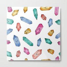 Crystals pattern - White Metal Print