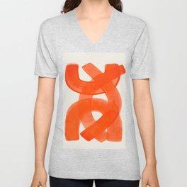 Mid Century Modern Abstract Painting Orange Watercolor Brush Strokes Unisex V-Neck